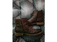 For sale. River Island brown leather zipped boots. Size 9