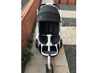 Quinny Moodd Black Irony Pushchair/Stroller/Pram with Baby Cocoon
