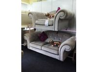 Neww sofology grey velvet chesterfield suite stunning quality