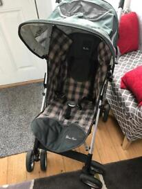Silver Cross Girls Grey & Pink Buggy Pushchair Pram