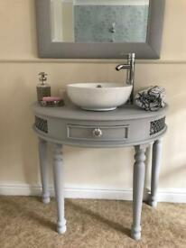 Lovely light grey vanity sink unit bathroom basin tap sink