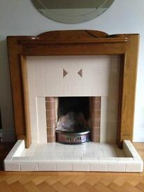 1930's Replica Tiled Fireplace and Oak Surround