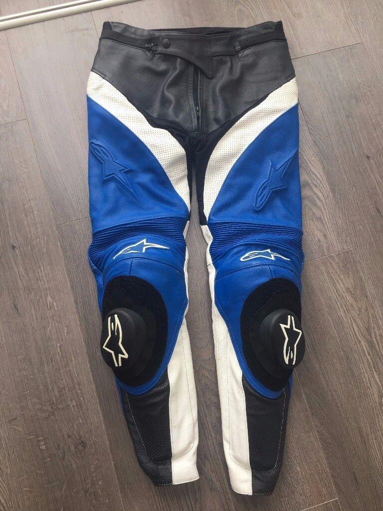 Alpinestars Motorbike Track Leather Pants - Blue - UK 32