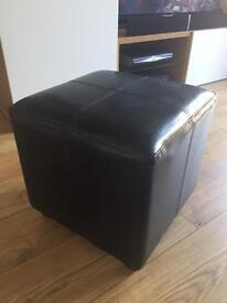 Footstool - Black leather effect