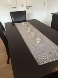Barker & Stonehouse Dining Table & Chairs - Wooden Table Chocolate Brown Chairs