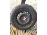 One steel wheel and tyre