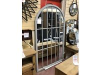 NEW VERY LARGE 6ft distressed arched cream or grey window mirror ONLY £139