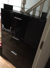 Black high gloss shoe cabinet, excellent condition.