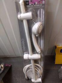Riser Rail Shower Kit Inc Head Hose Riser Rail Soap Dish