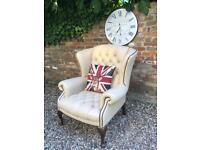 Stunning cream Chesterfield armchair. Sofa available.