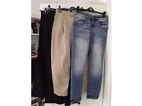 Bundle of 4 pairs women's trousers + 1pr shorts size 8 - £15