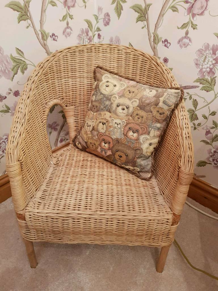 Childs basket chair with teddy cushion penrith