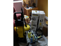 Karcher K2 Premium pressure washer with patio and car cleaning accessories