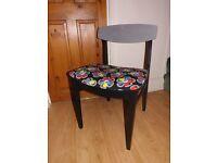 Retro Vintage Danish style teak dining chair with retro flower fabric seat