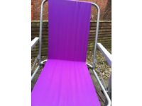 Garden - 3 purple deck chairs - used have been stored in garden shed