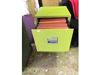 Metal 2 draw filing cabinet bright green