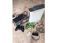 Xbox 360 console with leads and 2 controllers