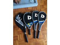 Two DUNNAY squash rackets & Two tennis rackets (1 WINNER, 1 DUNNAY junior)