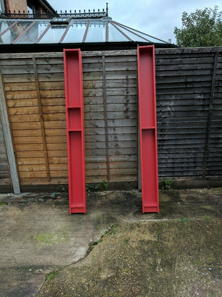 2 Ikea CD Towers in Red - currently assembled