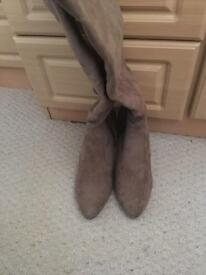 Size 3.5 Taupe suede knee high boots