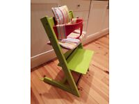 Tripp Trapp highchair with baby set and cushion