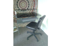 Black Glass Desk + Leather Swivel Chair