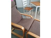 Ikea rocking arm chair with footstool