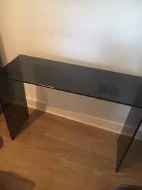 BLACK GLASS CONSOLE TABLE - GOOD CONDITION - £70