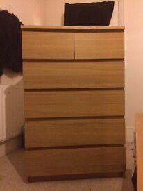 Ikea Malm Oak Veneer Chest of Drawers (6 Draws)
