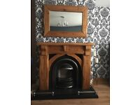 Pine fireplace and mirror