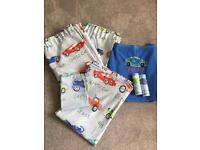 Curtain set, one matching duvet cover and pillow case, big fleece blanket & 2x5m boarder
