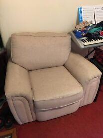 Cream coloured fabric armchair - STILL AVAILABLE