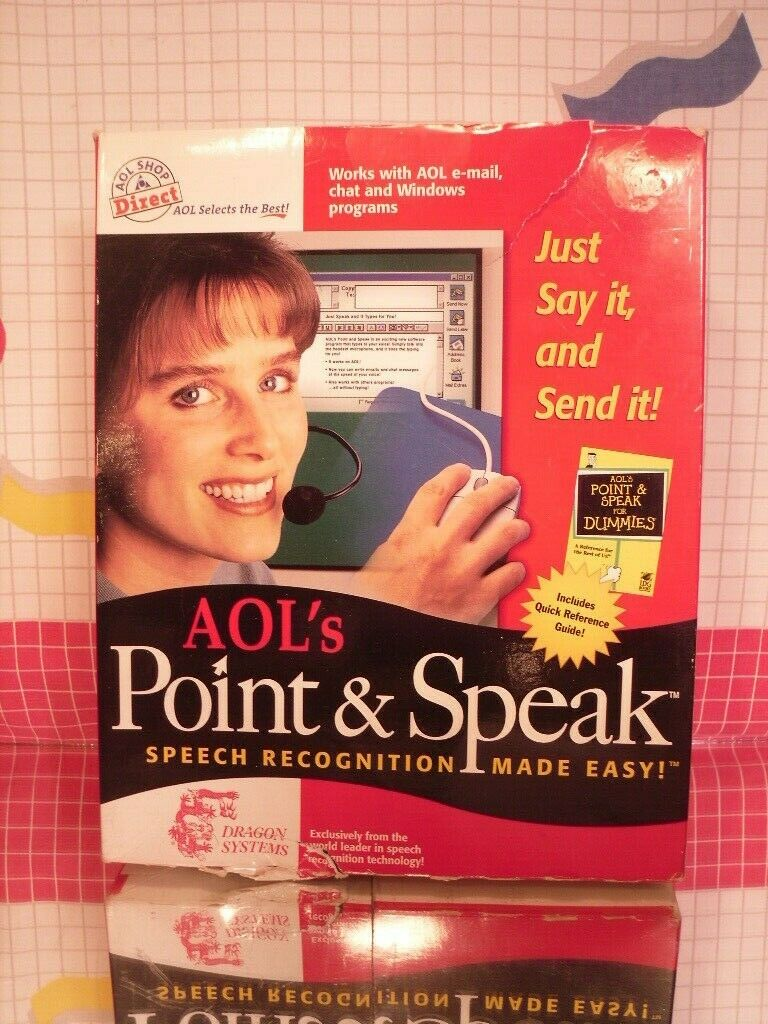 Point and Speak AOL Voice Recognition Software by Dragon - CD
