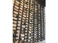 Vintage bottles wall-mounted structure