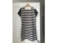 Black and white striped work dress size L