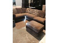 brown velvet corner suite + footstool