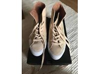 Cream suede converse size 6 with box