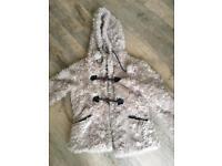 Fur (faux) hooded duffle coat
