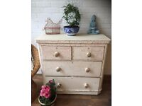 Victorian Pine Chest of Drawers Crackle glazed Original Shabby chic Vintage