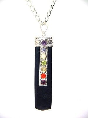 BUTW Black Tourmaline Crystal Pendant with 7 Chakra Gemstones Necklace 2113K