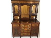 Antique Victorian High Back Mirrored Walnut Sideboard - Dresser Cabinet