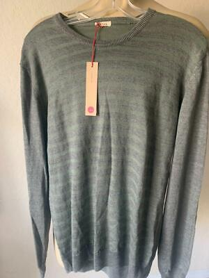 ALTEA Men's Linen Cotton Blend Long Sleeve Striped Sweater Large ITALY NWT $300