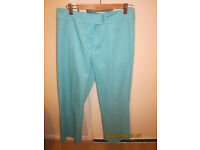 Nice, brand new turquoise trousers, cotton 98%, 2% elastane, size 10, £10