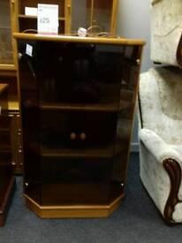 Dark wood Corner unit with glass doors - British Heart Foundation sco39426