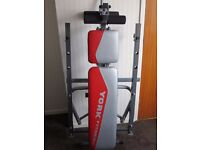 Foldaway York home exercise bench gym with curl and Lat attachments