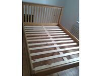 Lovely solid wood double bed frame with free mattress optional
