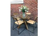 Next Glass & Oak Dining Table Circular Seats 4 TABLE ONLY