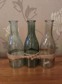Set of 3 decorative glass bottles