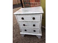 bedside cabinet distressed finish and waxed.