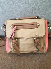 Oasis pink and tan satchel